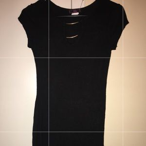 All black knee length dress